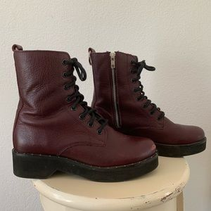 Steve Madden Maroon Leather Combat Boots